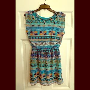 Multi-Print, Sleeveless Dress